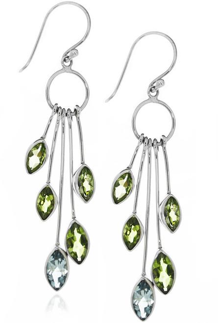 Sterling Silver .925 Blue Amethyst and Peridot Drop Earrings