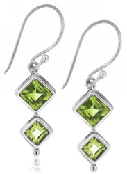 Sterling Silver .925 Diamond Cut Peridot Drop Earrings