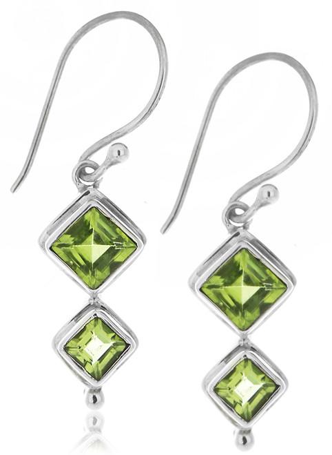Sterling Silver .925 Diamond Cut Peridot Drop Earrings