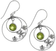 Sterling Silver .925 Hoop Peridot Drop Earrings