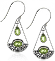 Sterling Silver .925 Peridot Drop Earrings