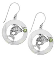 Sterling Silver .925 Fish Peridot Drop Earrings