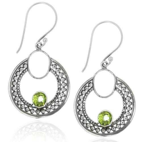 Sterling Silver .925 Bali Open Round Dotted Peridot Drop Earrings