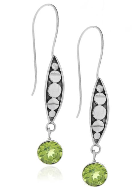 Sterling Silver .925 Dotted Almond Bali Peridot Drop Earrings