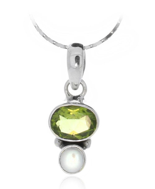 Sterling Silver 925 Bali Mother of Pearl and Period Pendant Necklace