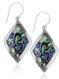 Sterling Silver .925 Abalone Shell Diamond Filigree Bali Drop Earrings