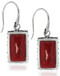 Sterling Silver .925 Square Bali Red Coral Drop Earrings
