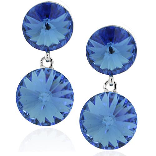 Swarovski Element Double Round Drop Sapphire Earrings