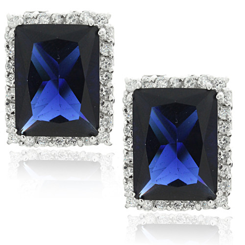 Emerald Sapphire Halo Pave Cubic Zirconia Clip Stud Earrings