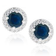Sterling Silver 925 Sapphire Halo CZ Stud Earrings