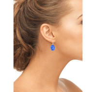 Oval Shape Earrings Made With Sapphire Crystal from Swarovski