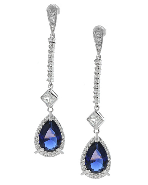 Luxury Linear Drop Sapphire Earrings