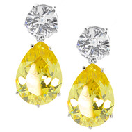 Round Clear and Yellow CZ Pearl Drop