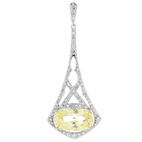 Canary Yellow Pendulum CZ Pave Pendant