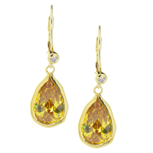 Yellow CZ Tear Drop Leverback Earrings