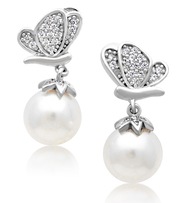 Sterling Silver Butterfly Cubic Zirconia Pearl Earrings
