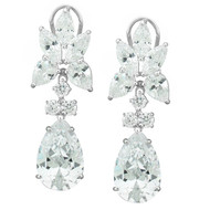 27TCW Sterling Silver Pear-cut Cubic Zirconia Drop Earrings