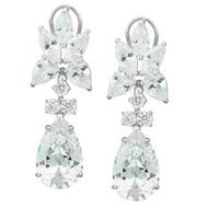 27TCW Sterling Silver Pear-cut Cubic Zirconia Drop Earrings