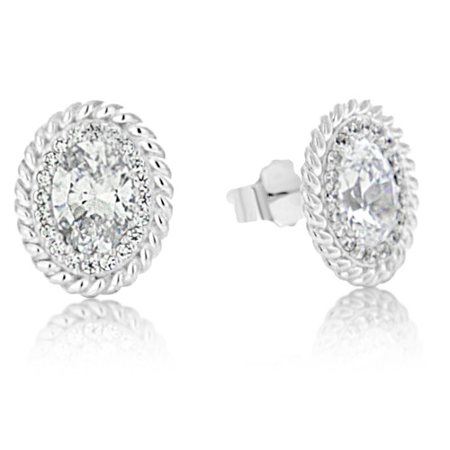 decf0fbf29ebce Sterling Silver Cubic Zirconia Pave Cable Stud Earrings - Artune Jewelry  Online