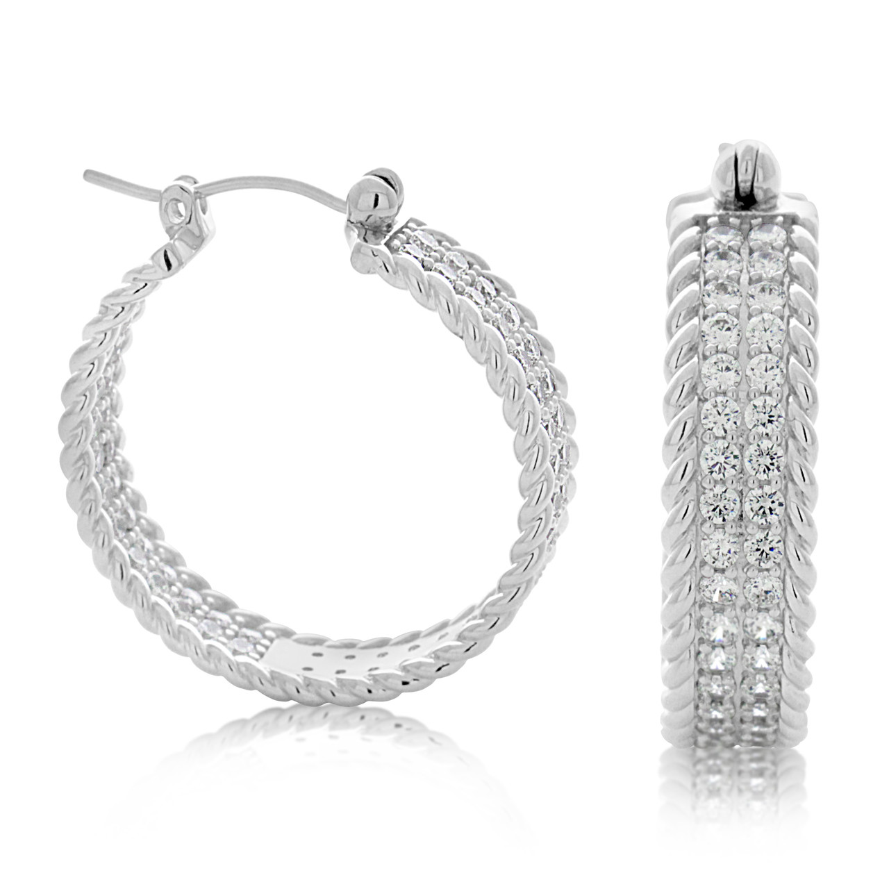 df71b87f65ae02 Sterling Silver Pave Cable Cubic Zirconia Huggy Hoop Earrings - Artune  Jewelry Online