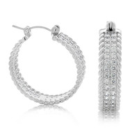 Sterling Silver Pave Cable Cubic Zirconia Huggy Hoop Earrings