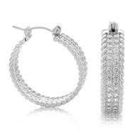 Sterling Silver Pave Cable Cubic Zirconia Huggy Hoop Earrings