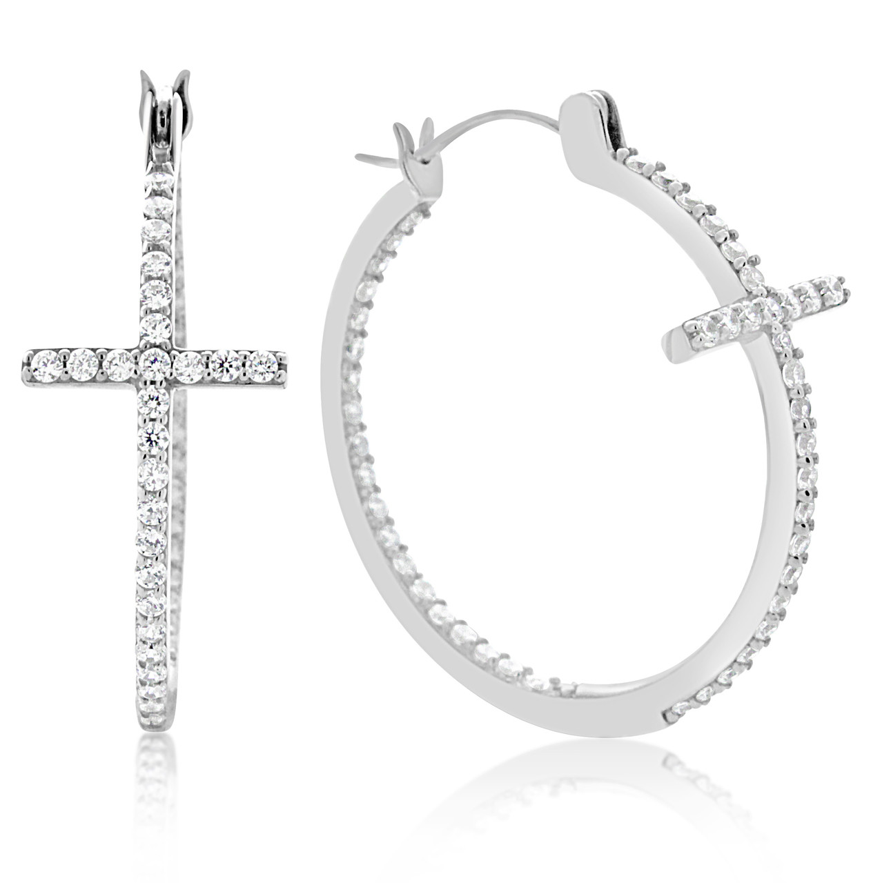 a80a644a442d81 Sterling Silver Inside and Out Cross Cubic Zirconia Hoop Earrings - Artune  Jewelry Online