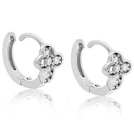 Sterling Silver Pave Cross Cubic Zirconia Baby Huggy Hoop Earrings