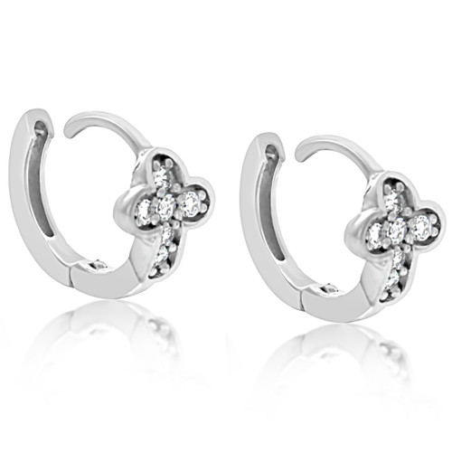 25cce8ef5c2c6c Sterling Silver Pave Cross Cubic Zirconia Baby Huggy Hoop Earrings - Artune  Jewelry Online