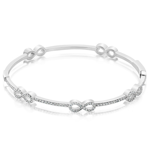 Sterling Silver Infinity AAA Quality Cubic Zirconia Bangle Bracelet
