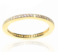 Vermeil 925 Sterling Silver Micro Pave Cubic Zirconia Eternity Stack Ring