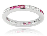 Sterling Silver .925 Pink Sapphire Color and Clear 3mm Baguette Cubic Zirconia Eternity Band