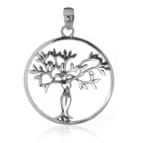 """Sterling Silver 925 """"Tree of Life"""" Round Pendant"""