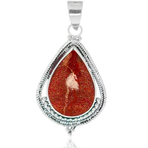 925 Sterling Silver Bali Red Coral Pear-Shape Pendant