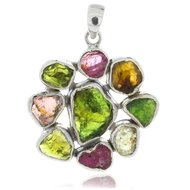 Bali Sterling Silver 925 Tourmaline Multi Color Round Pendant