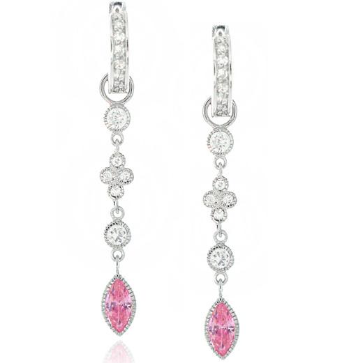 Cubic Zirconia Pave Huggy Hoop Drop Marquis Pink Drop Linear Earrings