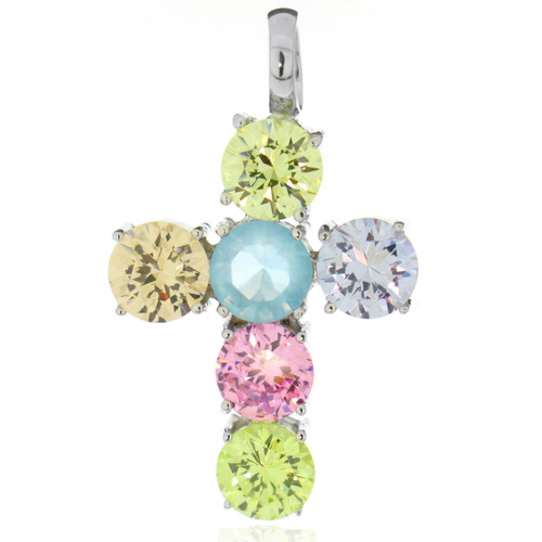 Round Multi Color Cubic Zirconia Cross Necklace Pendant