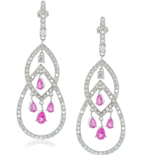 Sterling Silver Open Drop  Pink Pear-Cut Cubic Zirconia Crystal Earrings