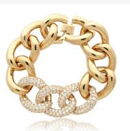 14k Gold Plated Chain Link Pave CZ Link Bracelet