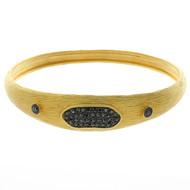 Textured Gold Plated Black CZ Bangle Bracelet