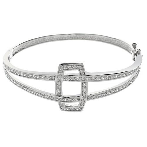 Abstract Design CZ Pave Bangle Bracelet