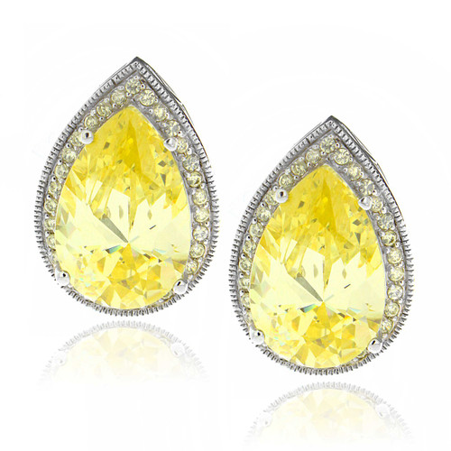 Sterling Silver Large Pear-cut Yellow Cubic Zirconia Stud Earrings