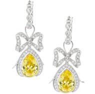 Sterling Silver CZ Bow Ties Yellow CZ Drop Earrings