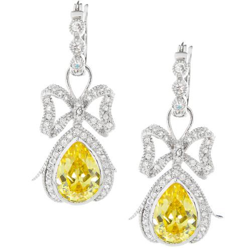 Sterling Silver CZ Bow Ties Yellow CZ Drop Earrings