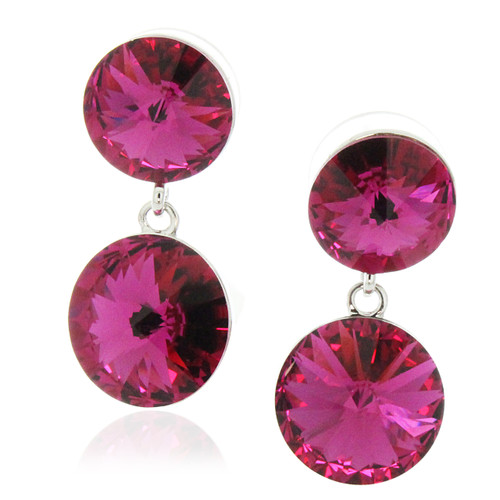 Double Round Drop Earrings Made with Fuchsia Crystals from Swarovski