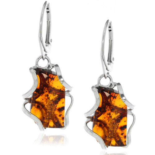 Sterling Silver Baltic Amber Drop Dangle Earrings