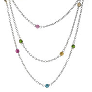 Wrap-Around layers Multi Colored Swarovski Crystals Necklace, 76""