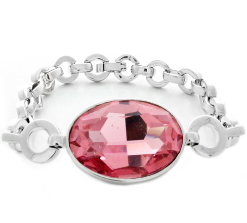 Swarovski Element Pink Linked Chain Bracelet