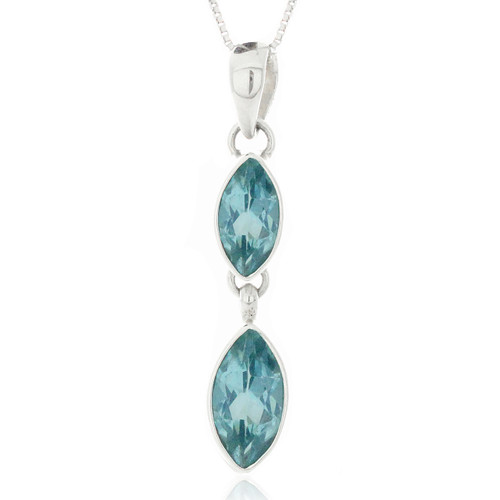 Sterling Silver .925 Double Marquis Blue Topaz Drop Pendant Necklace