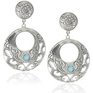 Filigree Round Blue Topaz Drop Earrings